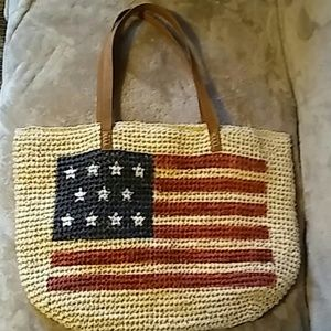 Straw Studio Beach Bag Flag Tote new no tag